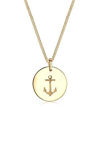 Elli Halskette Elli Damen Halskette mit Anker Symbol Münze Maritim in 925 Sterling Silber 45 cm lang
