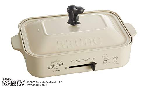 BRUNO ブルーノ コンパクトホットプレート スヌーピー PEANUTS コラボ 本体 プレート3種(たこ焼き 平面 マルチ) スヌーピーノブ 付き ホワイト White 白 おすすめ おしゃれ かわいい これ1台 蓋 ふた付き 温度調節 洗いやすい 1人 2人 3人用 小型 小さいサイズ 少人数 ひとり暮らしにも 幅約40㎝ BOE070-ECRU