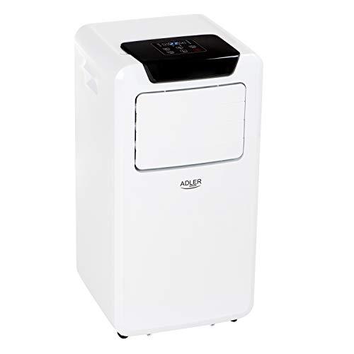 Adler AD7916 - Condizionatore mobile portatile programmabile, telecomando, 380 m3/h, 3 funzioni, ventilatore, deumidificatore, refrigeratore, aria, classe energetica A, bianco