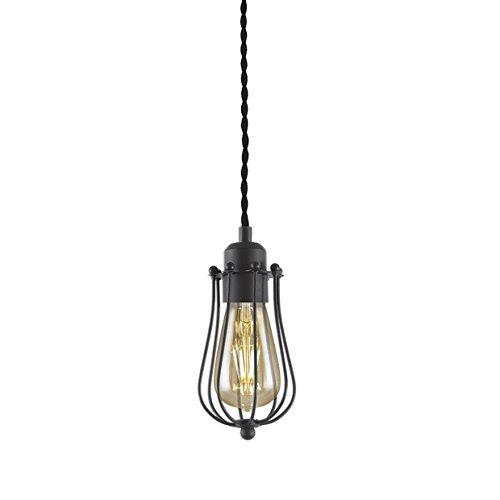 Hanglamp met lampenkap van 10 cm, versierd van zwart metaal. Rustieke gevlochten kabel