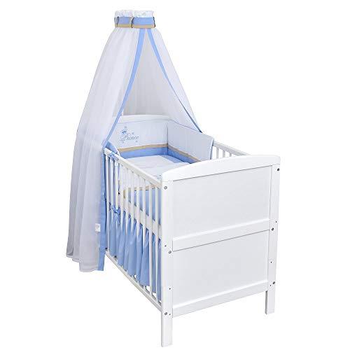 Baby Delux Babybett Kinderbett Juniorbett Weiß 140×70 inkl. Matratze und Bettwäsche mit Stickerei Prince