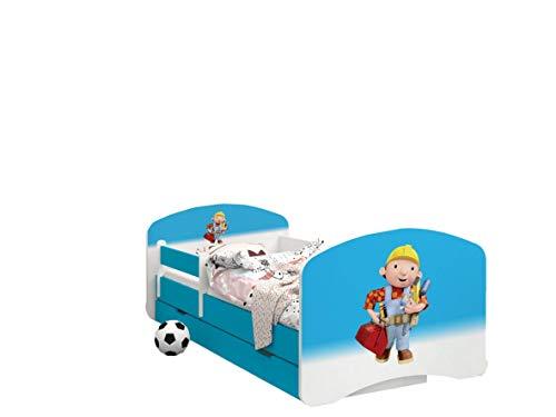 Happy Babies - LIT D'ENFANT DOUBLE FACE AVEC TIROIR Design Moderne Avec Bords Sûrs et Matelas en Mousse Antichute 7 cm Bleu (Bob le Constructeur, 190x90)