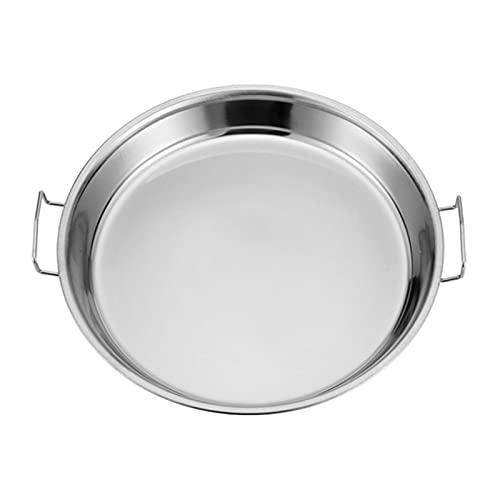 Platos De Platos Llanos Cacerola de acero inoxidable Herramientas de fabricación de fideos fríos de la bandeja de arroz al vapor plato para pastel para la cocina para el hogar Bandeja de servir de bod