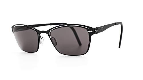 Lunithe Altaïr 3 - Gafas solares para hombre y mujer, diseño independiente francés, sin tornillos, metal, minimalista, Negro (negro mate), M