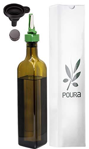 Poura Aceitera Antigoteo con Boquilla Aceitera de Cristal con Tapón para Que el Aceite de Oliva Se Mantenga Fresco y No Se Oxide – Botella de Aceite con Embudo