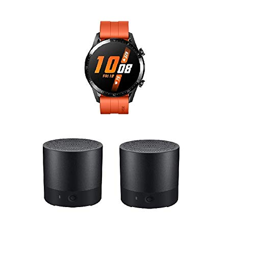 HUAWEI Watch GT 2 Smartwatch (46mm, OLED Touch-Display, Fitness Uhr mit Herzfrequenz-Messung, Musik Wiedergabe & Bluetooth Telefonie) Sunset orange + 2X Bluetooth MiniSpeaker CM510, Schwarz