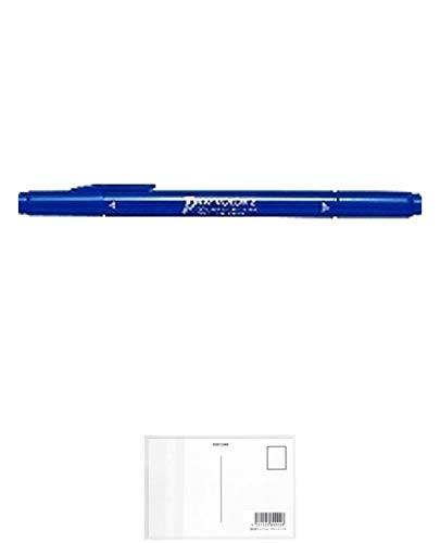 トンボ鉛筆 水性サインペン プレイカラー2 藍色 WS-TP17 【5本】 + 画材屋ドットコム ポストカードA