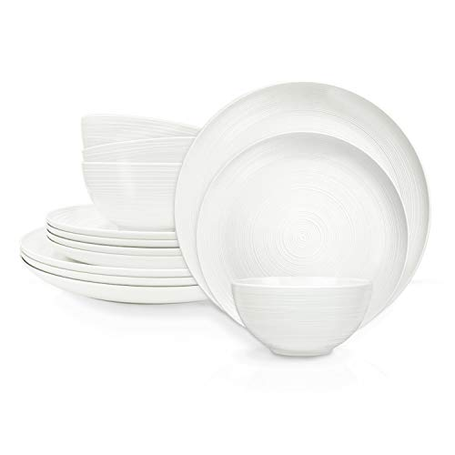 Zak Designs American Conventional Melamine Dinnerware Set Includes Dinner Plates, Salad Plates, and Individual Bowls, Durable and BPA Free (White, 12-Piece Dinnerware Set, Service for 4)