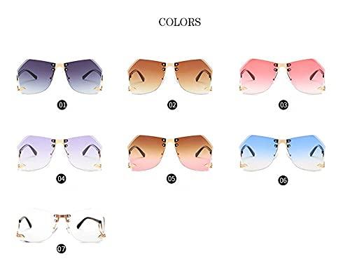 Secuos Gafas De Sol Irregulares Sin Montura para Mujer, Diseñador De Marca, Montura De Aleación, Gafas De Sol Gradiente De Gran Tamaño, Moda Femenina, Tonos Claros 06 Azul
