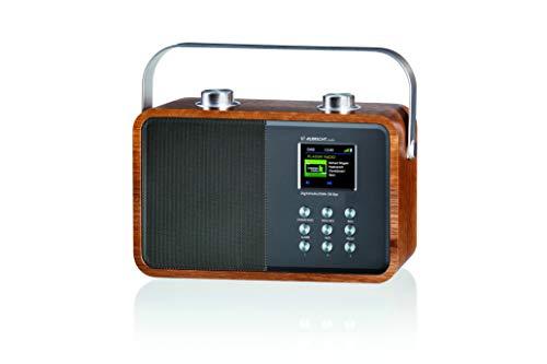 Albrecht DR850 tragbares Digitalradio für Zuhause oder unterwegs mit Akku, kombiniert DAB+ mit UKW und Bluetooth-Musikstreaming, braunes Holzgehäuse
