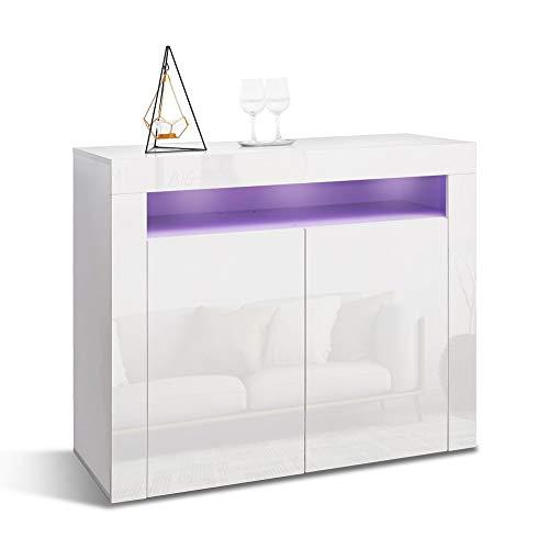Mondeer- Buffet avec Lumières LED - Commode Moderne 2 Portes Brillant, Blanc 108x40x92 cm