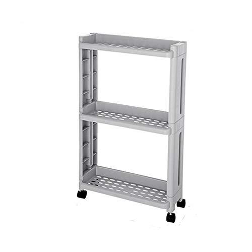 GJDBBLY Lagerregal Küchenablage für Waren Kühlschrank Seitenregal 2/3/4 Schicht abnehmbar mit Rädern Organizergap Halter 65 * 40 * 13,8 cm G-3