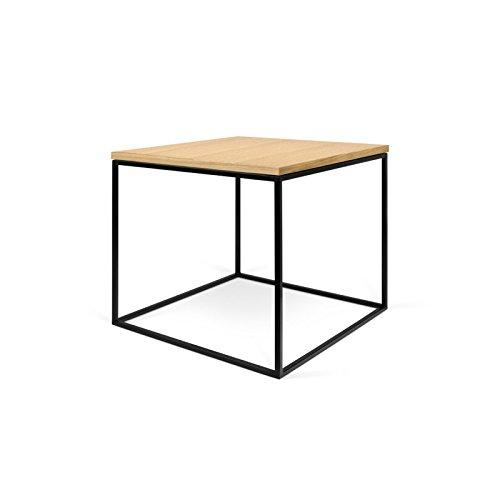 Paris Prix - Temahome - Table D'appoint Gleam 50cm Chêne & Métal Noir