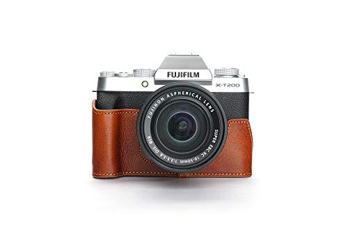 X-T200 Camera Case, BolinUS Handmade Genuine Real Leather Half Camera Case Bag Cover for Fuji Fujifilm X-T200 XT200 Camera Bottom Opening Version + Hand Strap (LavaBrown)