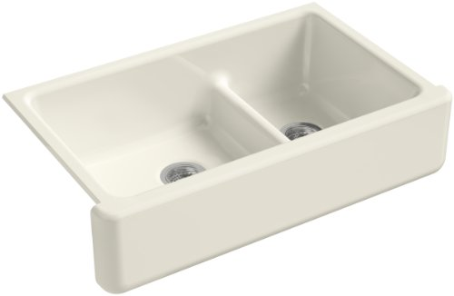 KOHLER Whitehaven Farmhouse Smart Divide Self-Trimming Undermount Apron Front Double-Bowl Kitchen Sink with Tall Apron, 35-1/2-Inch x 21-9/16-Inch, Biscuit (K-6427-96)