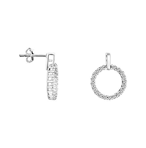 SOFIA MILANI - Pendientes Mujer Plata 925 - con Zirconia Stone - Pendientes Circulares - 21111_21112, Plata, Cubic Zirconia,