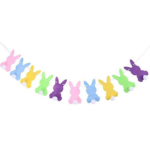 Bebliss Decoración de fiesta de Pascua Conejo fieltro Bandera de Bla Flor de tirón Conejo blanco Bola colorida Conejo de fieltro Bandera de Bla