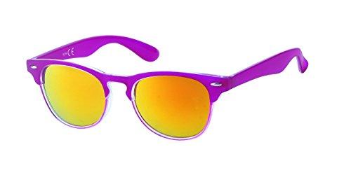 Chic-Net Hochwertige Sonnenbrille schmal Katzenauge farbenfroh Unisex verspiegelt 400 UV Nerd pink