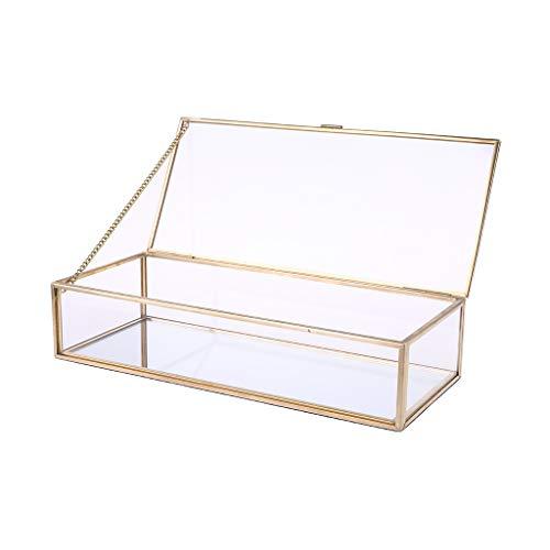 ZJFloral Joyero, caja rústica para anillos de boda, soporte geométrico de almacenamiento de cristal transparente, decoración de joyas, pendientes, collares, regalo para niñas, madre y mujer