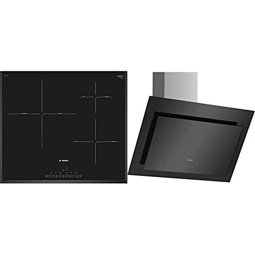 Bosch Serie 6 PID651FC1E Placa de inducción, 60 cm, 17 niveles de potencia + Serie 4 DWK67CM60 Campana de cristal negro, 60...