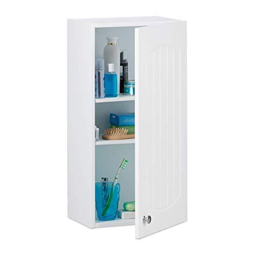 Relaxdays Badezimmerschrank hängend, Badhängeschrank, Lamellen Design, 2 Einlegeböden, MDF, HBT: 60 x 30 x 20,5 cm, weiß