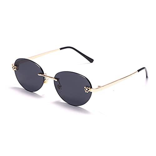 QWKLNRA Gafas De Sol para Hombre Marco Dorado Lente Negra Polarizado Deportes Gafas De Sol Retro Sin Bordes Gafas De Sol Ovaladas Mujeres Degradado De Lujo Sombras Hombres Gafas De Sol Uv400 Vintage