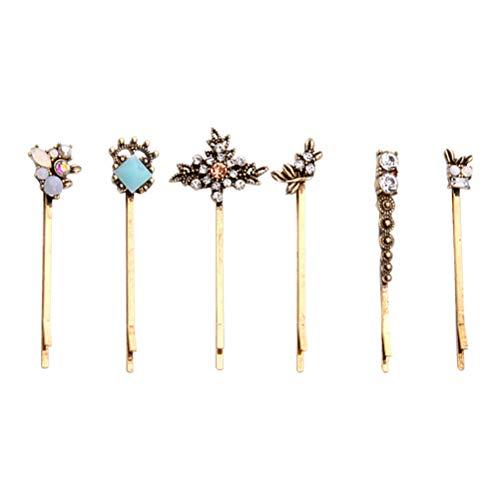 6pcs barrettes de cheveux de fleur de fleur de diamante retro