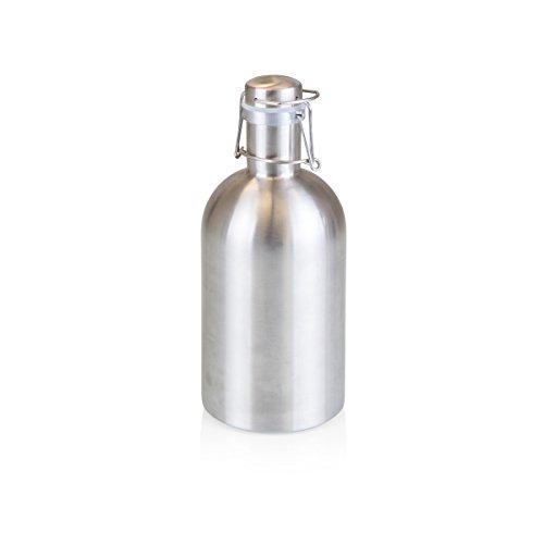 Growler de cerveja de aço inoxidável 1,8 l da Legacy – uma marca Picnic Time, acabamento prata