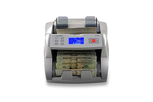 SILVER By AccuBANKER S3500 Flex Bill Counter - High Speed Money Counter Machine w/ 3 Counterfeit Detection Methods UV/MG/DD- Count Cash by Denomination w/Automatic totals & Value Fake Money Detector