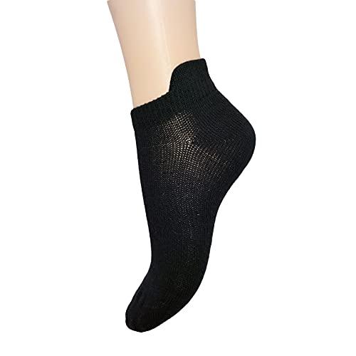 PASINI FASHION 12 pares - Calcetines cortos de algodón peinado negros con lengüeta - Colección BLACK FLAPPED - transpirable y fresco (47-50)