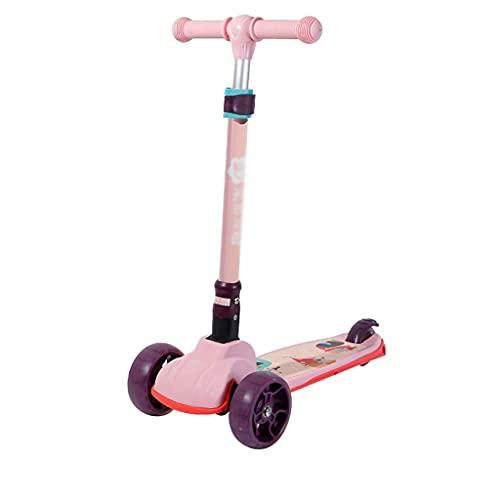 LICHUAN Scooter Scooter para niños Scooter de 3 ruedas con ruedas iluminadas, altura ajustable, fácil de aprender, sólido y resistente, para niños de 2 a 5 años de edad (color: rosa)