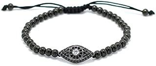Adjustable Bracelet,Stainless Steel Beaded Stone Evil Eye Bracelet Braided Wristband Couple,Black