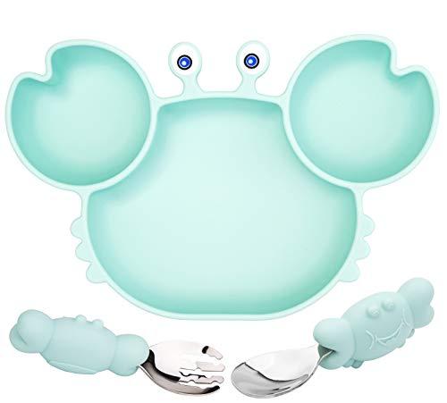 Baby Teller Schüssel Mini Silikon Platte mit Gabellöffelset für Baby Kleinkinder Kinder Teller Baby Rutschfest Babyteller Saugen Abwaschbar für Spülmaschine, Mikrowelle
