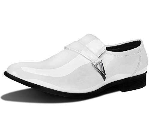 ZZHAP Men's Pointed-Toe Tuxedo Dress Shoes Casual Slip-on Loafer White US 10.5