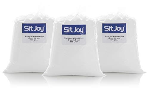 Sitjoy Sitzsack-Füllung | Styropor-Mikro-Perlen [Ø ca. 0,6 mm] | 300 Liter | Nachfüllbeutel – EPS Styropor-Kugeln und Kügelchen für Kissen