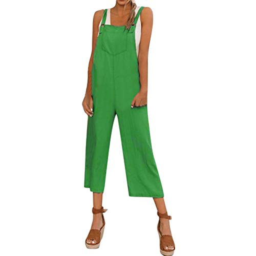 LIHAEI Jumpsuit Damen Sommer,Womens Baggy Latzhose Long Playsuit Party Jumpsuits Breites Bein Hosenanzug Einfarbig Strap Belt Bib Hosen