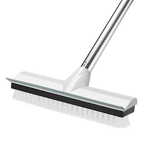 MEIBEIフロアスクラブブラシ スクイジー二合一設計 掃除用ブラシ水切りワイパー デッキブラシロングハンドル調節可能 バスルーム/キッチン/ベランダ/玄関/床/庭園にも適用