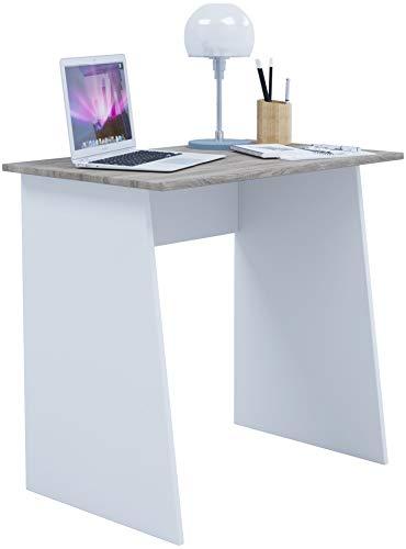 VCM Schreibtisch Computertisch Arbeitstisch Büromöbel PC Laptop Tisch Möbel weiß / Sonoma-eiche 74x80x50cm