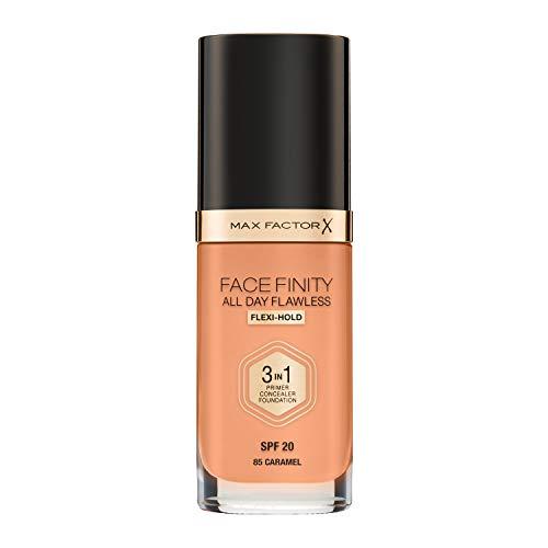 Max Factor Face Finity 3 in 1, Base de Maquillaje, Tono: 85 Caramel - 30 ml