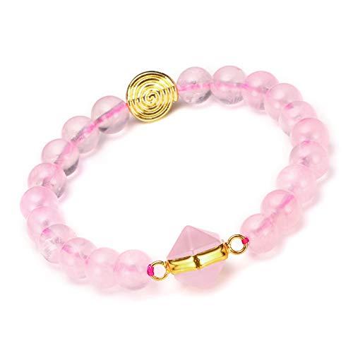 JSDDE Damen Armband Naturstein Armbänder Hexagon Säulen Stretcharmband Steinkugeln Armreif Perlenarmband Rosenquarz