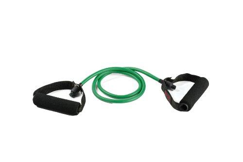 SPRI Deluxe Xertube Resistance Band Exercise Cords with Foam Padded Handles, Green, Light
