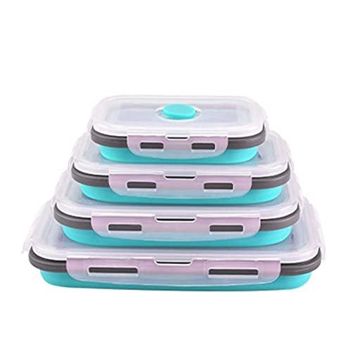 TFJJSQA Especial/Simple Congelador Microondavable Alimentos de plástico Contenedores de Almacenamiento con Tapas Caja de Almuerzo Plegable Sello de vacío hermético 0414 (Color : Blue)