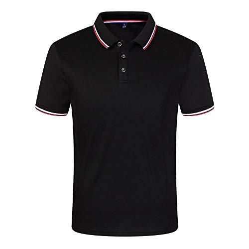 MedusaABCZeus Atmungsaktives Tank T-Shirt,Sommer Kurze Ärmel, Revers Polo T-Shirt-schwarz_XXXL,Herren Shirt Uv Schutz