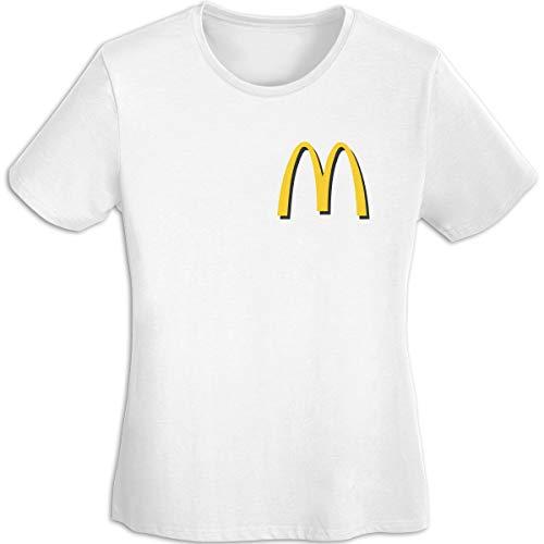 Damen Plain-Mc-Donalds-Logo Logo Merch Kurzarm Bekleidung T-Shirt V-Ausschnitt Tee T Shirt Baumwolle Sommer für Frauen White XL