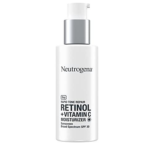 Neutrogena Rapid Tone Repair Retinol + Vitamin C Facial Moisturizer with Retinol, Vitamin C, Hyaluronic Acid & SPF 30 Sunscreen, Tone-Evening & Brightening Face Cream, 1 fl. oz