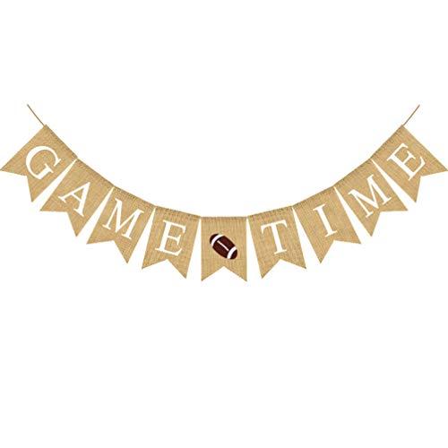 Amosfun Game Time Banner zum Aufhängen, Buchstabendruck, Banner, Sport, Party, Girlande zum Aufhängen, Wimpelkette Rugby American Football Banner