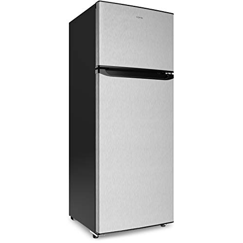 hOmeLabs 7.6 cu. ft. Refrigerator with Freezer - Energy Star Certified, Stainless Steel, Adjustable Glass Shelves - Ideal for Home, Office, Dorms and Apartments