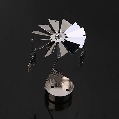 Koehope Kandelaar, roterende spinning, theelichtjes, metaal, theelichthouder, carrousel, wooncultuur, cadeau 8x13cm3.15