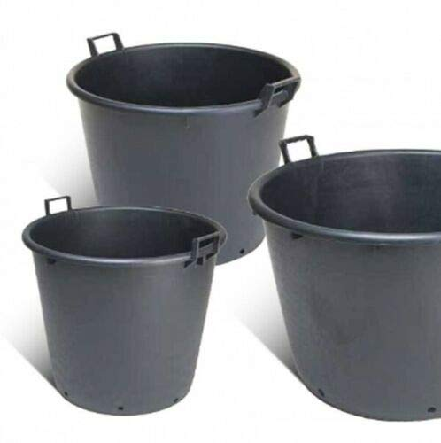 Mastello in plastica nero con manici e fori mastellone tino tinozza giardino Capacità 155 Litri