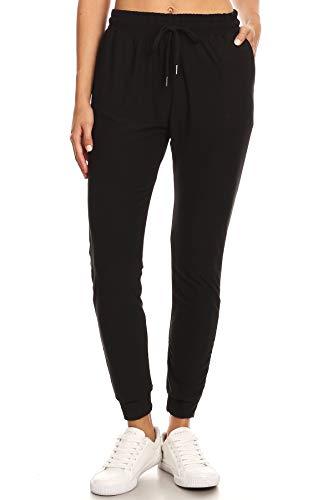 LA12ST Women's Juniors Soft Black Jogger Pants Drawstring Pockets